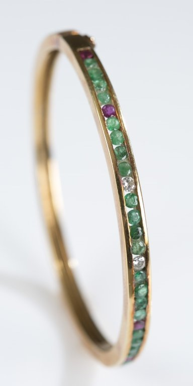 Diamond, Ruby & Emerald 14K Gold Hinged Bangle.