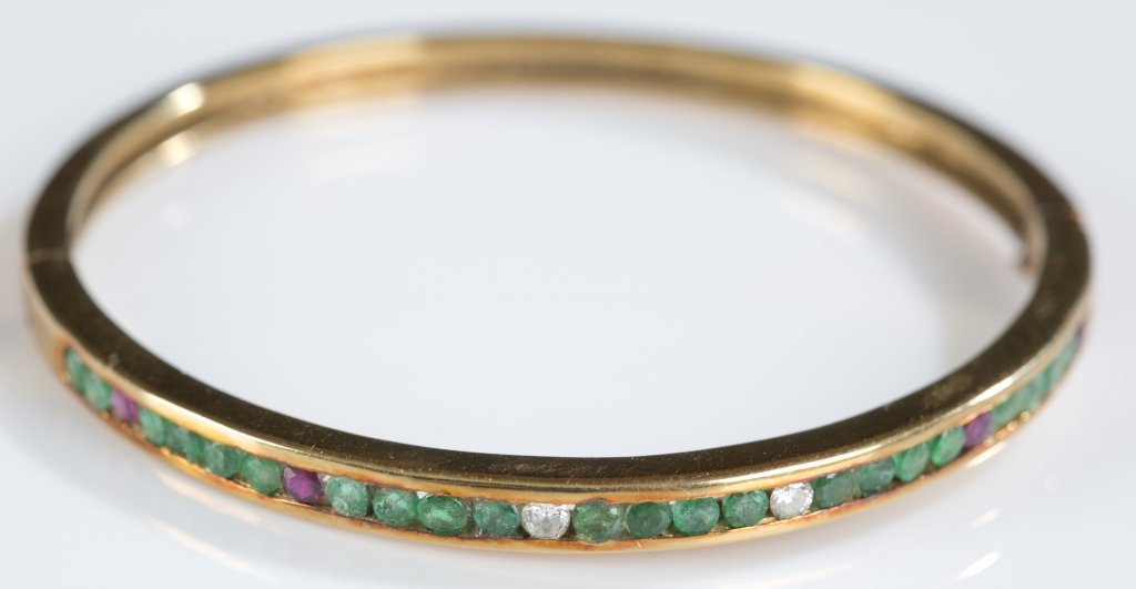 Diamond, Ruby & Emerald 14K Gold Hinged Bangle. - 2