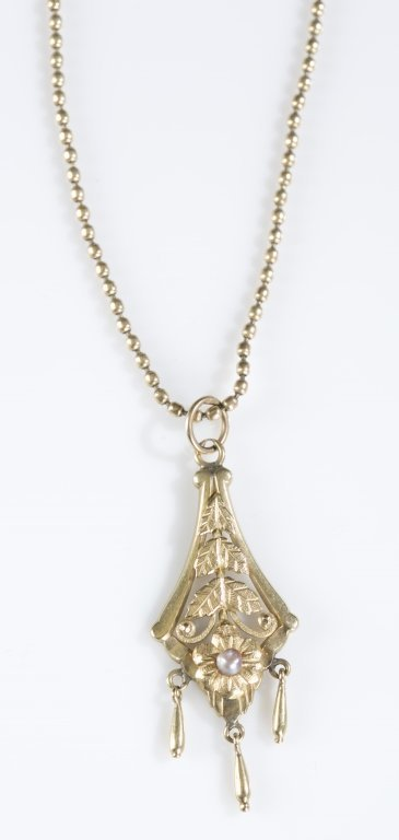 Victorian Pearl & 14K Gold Pendant on Chain.