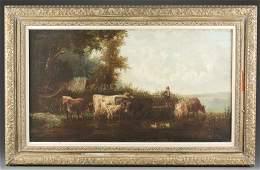 Late 19th c Victorian Oil on Canvas Genre Scene
