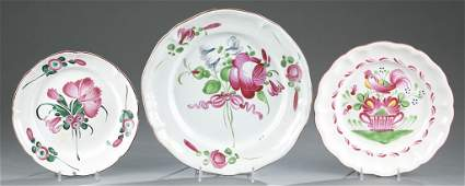 Group of Three Pink French Faience Plates.