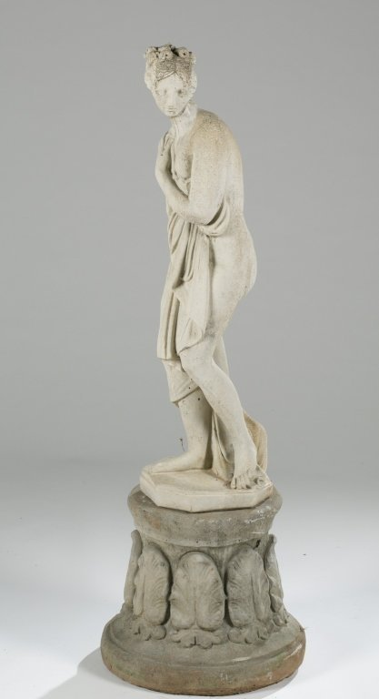 20th c. Neoclassical-Style Pandora Statue on Base.