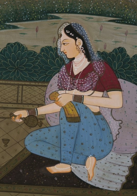 Six 20th c. Mughal School Miniature Paintings. - 9