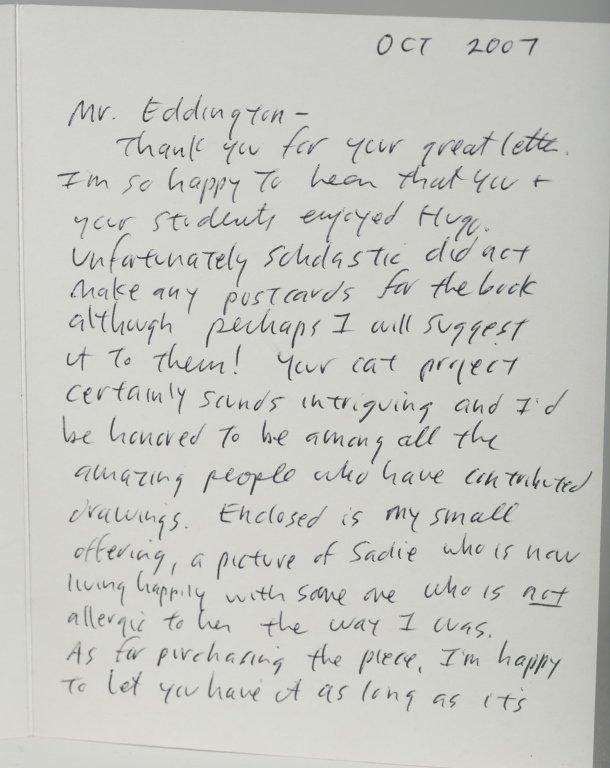 Brian Selznick Letter & Cat Sketch. - 3