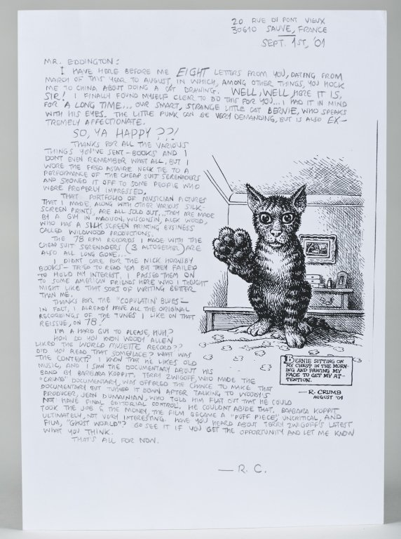 "Robert Crumb Letter with ""Bernie"" Cat Drawing."