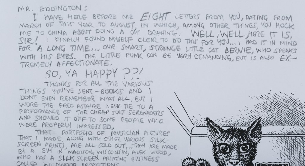 "Robert Crumb Letter with ""Bernie"" Cat Drawing. - 3"