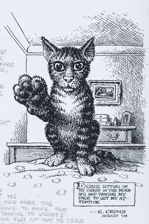 "Robert Crumb Letter with ""Bernie"" Cat Drawing. - 4"