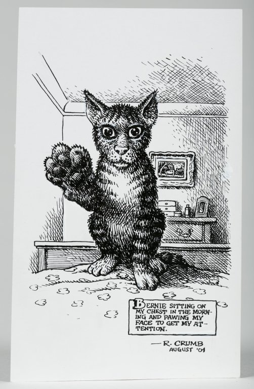 "Robert Crumb Letter with ""Bernie"" Cat Drawing. - 5"