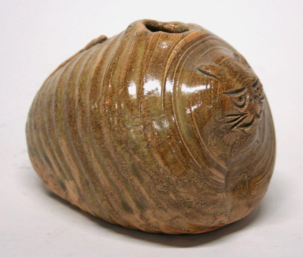 Folk Art Pottery Cat Vase. - 2