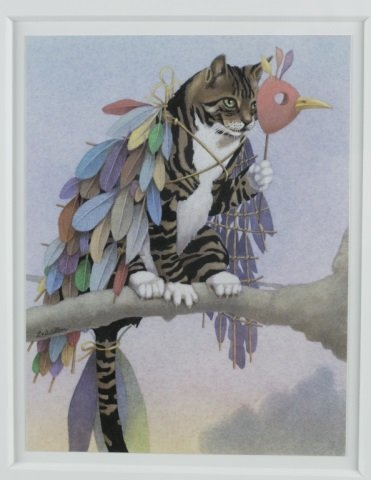 Cat on Limb with Mask Colored Lithograph. - 2