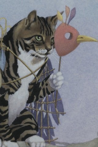 Cat on Limb with Mask Colored Lithograph. - 3