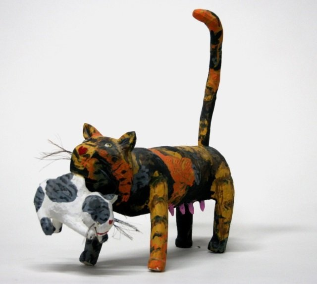 Miguel Rodriguez Carved Wooden Cat Sculpture.