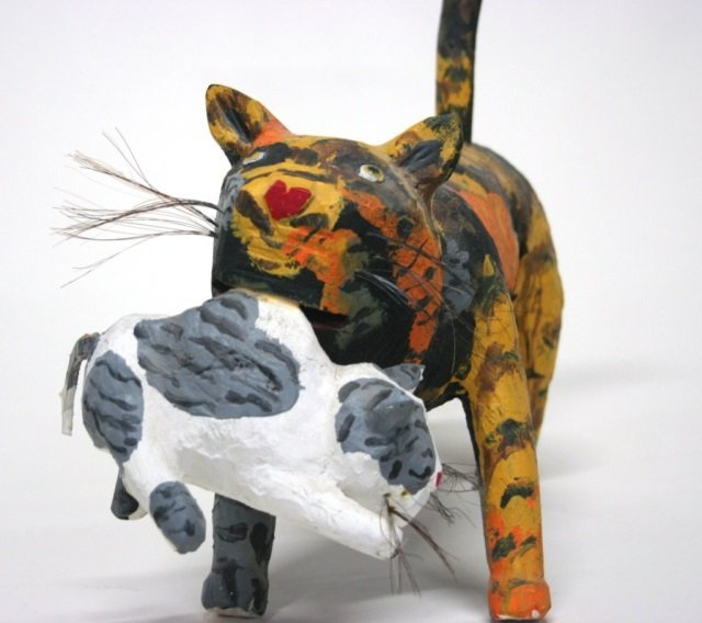 Miguel Rodriguez Carved Wooden Cat Sculpture. - 2