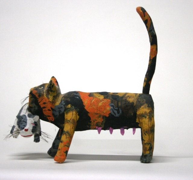 Miguel Rodriguez Carved Wooden Cat Sculpture. - 3