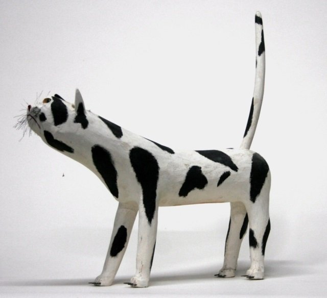 Leroy Archuleta Carved Wooden cat Sculpture.