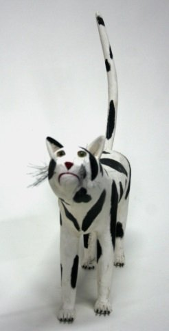 Leroy Archuleta Carved Wooden cat Sculpture. - 3