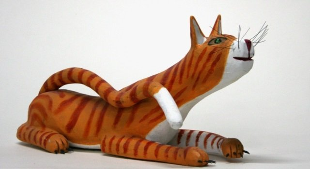 Ron S. Rodriguez Carved Wooden Cat Sculpture.