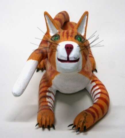 Ron S. Rodriguez Carved Wooden Cat Sculpture. - 3