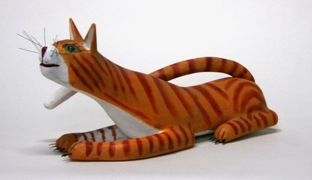 Ron S. Rodriguez Carved Wooden Cat Sculpture. - 4