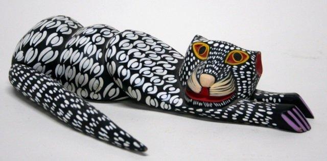 Moises Jimenez Carved Oaxacan Cat Sculpture