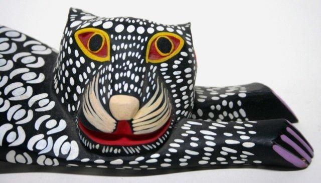 Moises Jimenez Carved Oaxacan Cat Sculpture - 4
