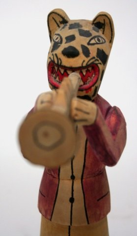 Carved Wooden Jaguar Folk Art Sculpture. - 5