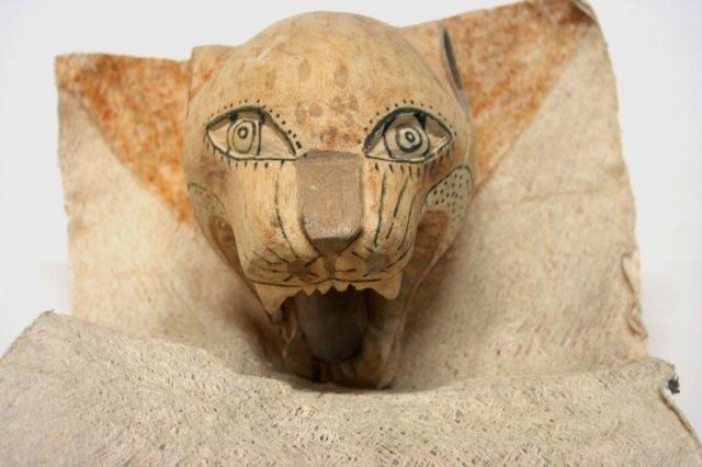 Carved Wooden Jaguar Folk Art Mask.