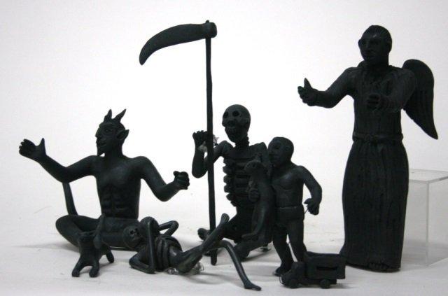 Carlo Mazno Mexican Black Glazed Pottery Figurines