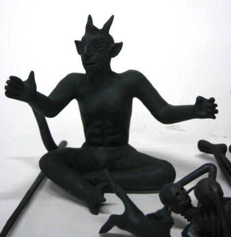 Carlo Mazno Mexican Black Glazed Pottery Figurines - 5