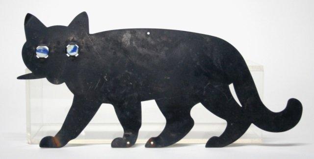 Black Metal Cat Decorative Wall Plaque.