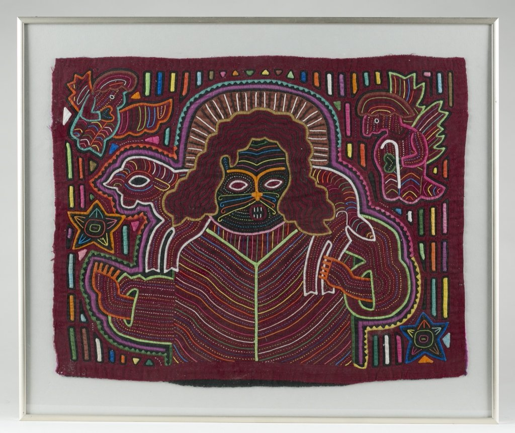 Two Colorful Folk Art Cat Tapestries.