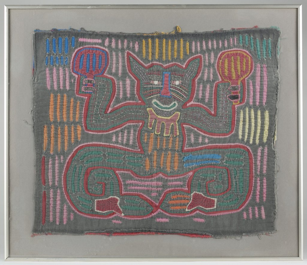 Two Colorful Folk Art Cat Tapestries. - 4
