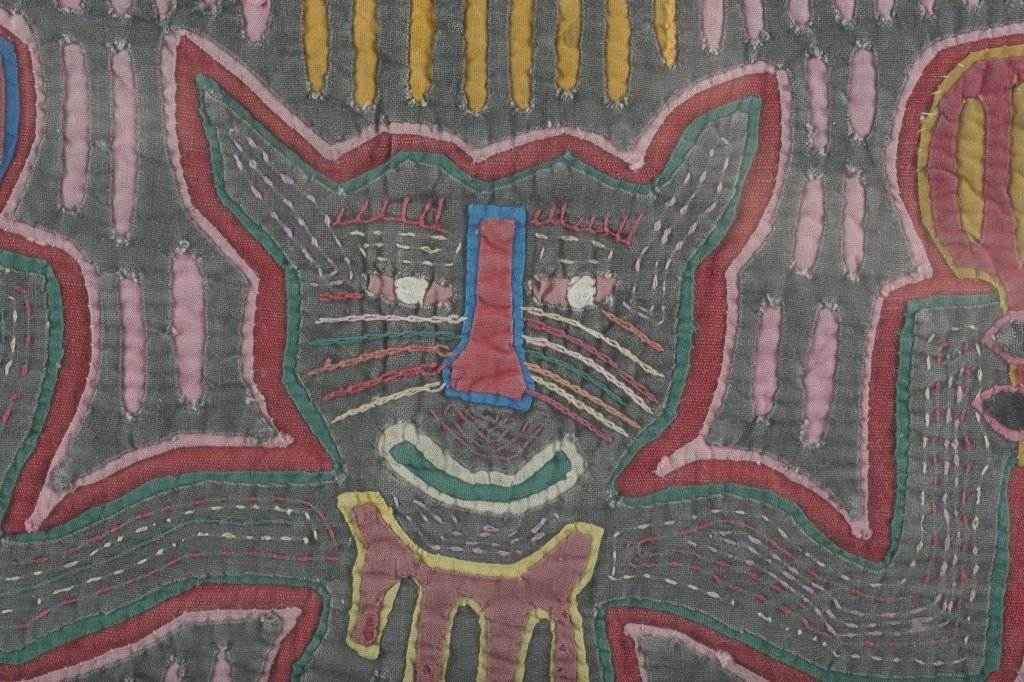 Two Colorful Folk Art Cat Tapestries. - 5