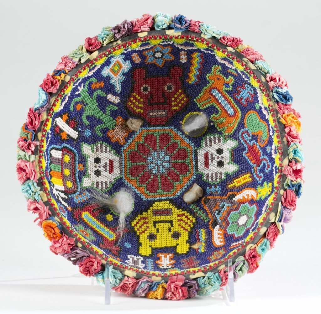 Mexican Huichol Beaded Gourd Bowl.