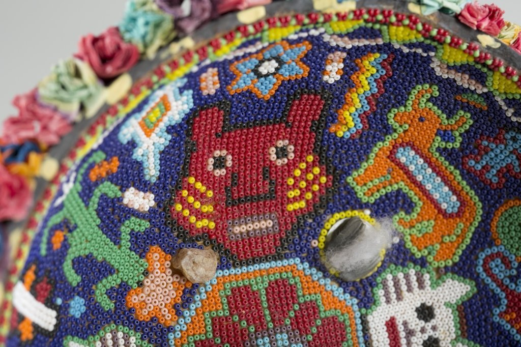 Mexican Huichol Beaded Gourd Bowl. - 2