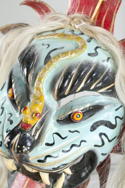 Folk Art Blue Jaguar Mask, 20th c. - 5