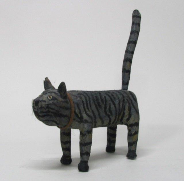 Miguel Rodriguez Carved Wooden Cat Sculpture.