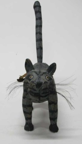 Miguel Rodriguez Carved Wooden Cat Sculpture. - 2