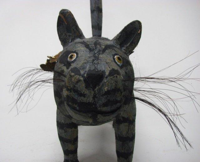 Miguel Rodriguez Carved Wooden Cat Sculpture. - 3