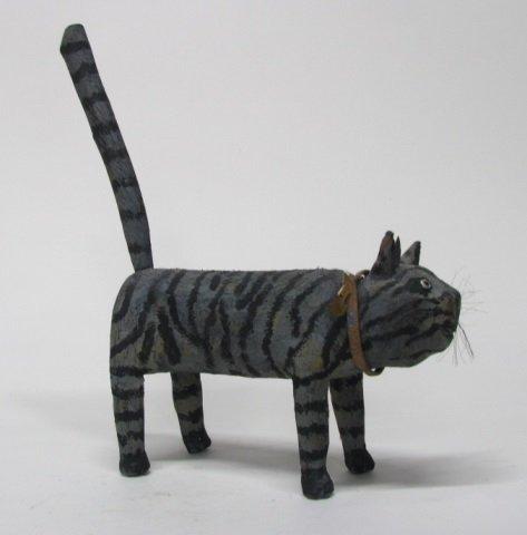 Miguel Rodriguez Carved Wooden Cat Sculpture. - 4