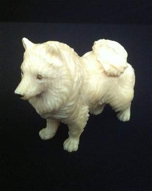 Chinese Ivory Figure of a Dog ,