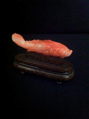 Chinese Coral Figure of a Carp ,