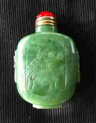 Chinese Spinach Jade Snuff Bottle,
