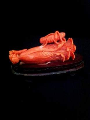 Good Chinese Coral Figure Group,