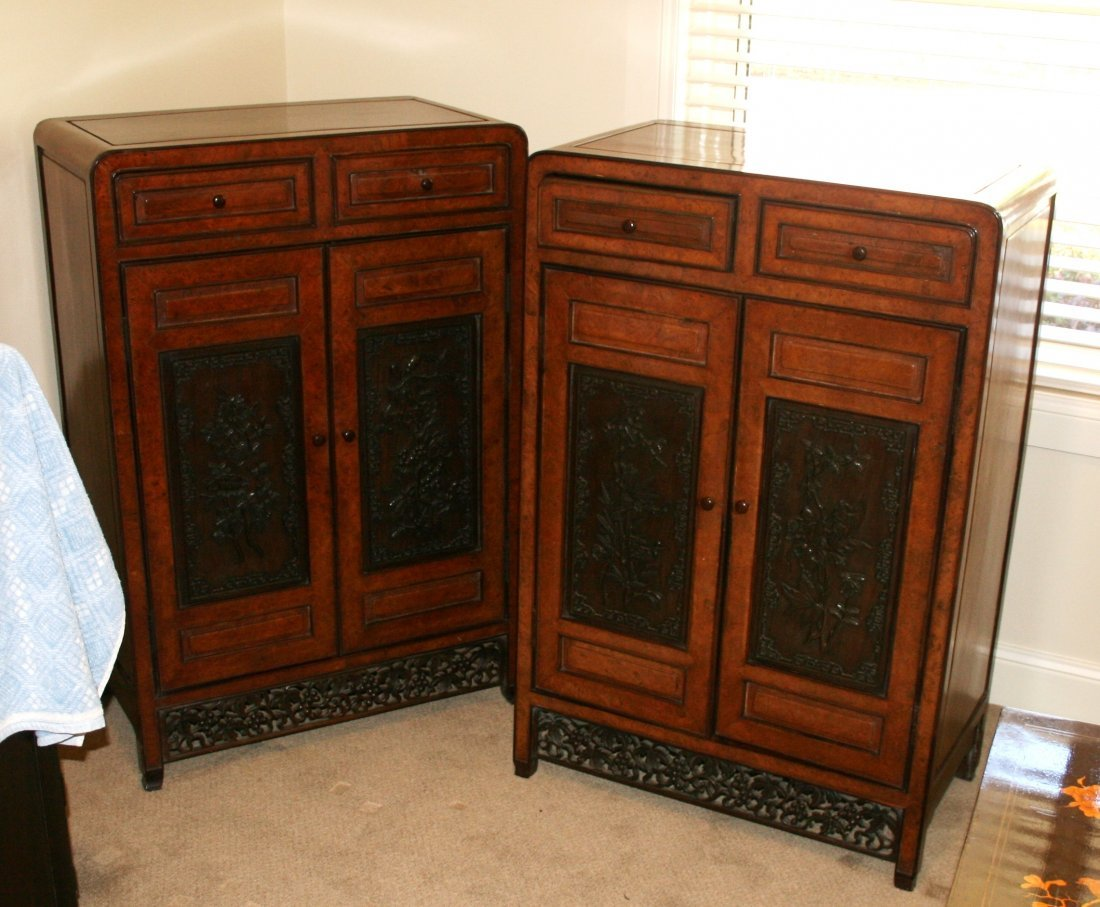 500: Pair of Chinese Qing Elm and Yellow wood Side Cabi
