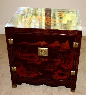 Chinese Lacquered Side Cabinet ,