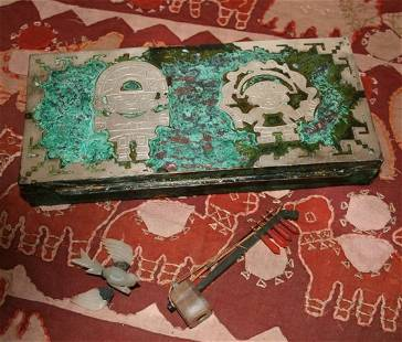 South American White Metal Box and Cover,