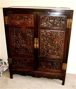 Chinese Hardwood Side Cabinet ,