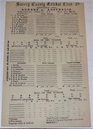 Australians 1926 Scorecard