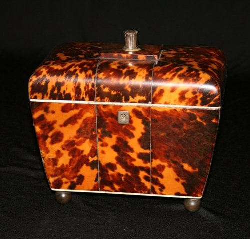A George III Tortoiseshell Tea Caddy, c 1810,